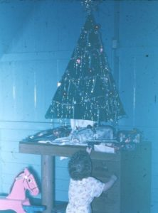 A cardboard Christmas tree.